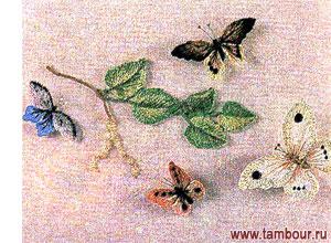 Цветная бабочка вышивка