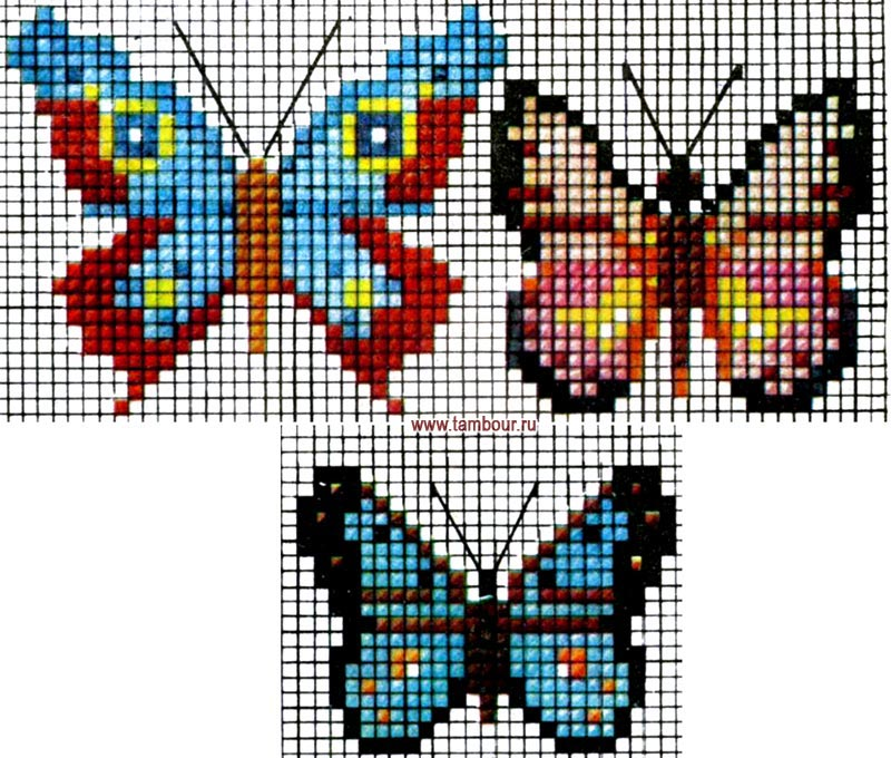 схемы вышивки крестиком.  Три схемы для вышивания бабочек.  Можно использовать для украшения одежды или предметов...