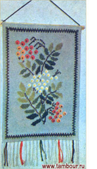 Веточка рябины схема вышивки крестом