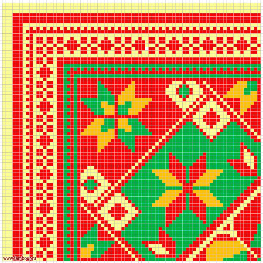 Схема вышивки диванных подушек крестом