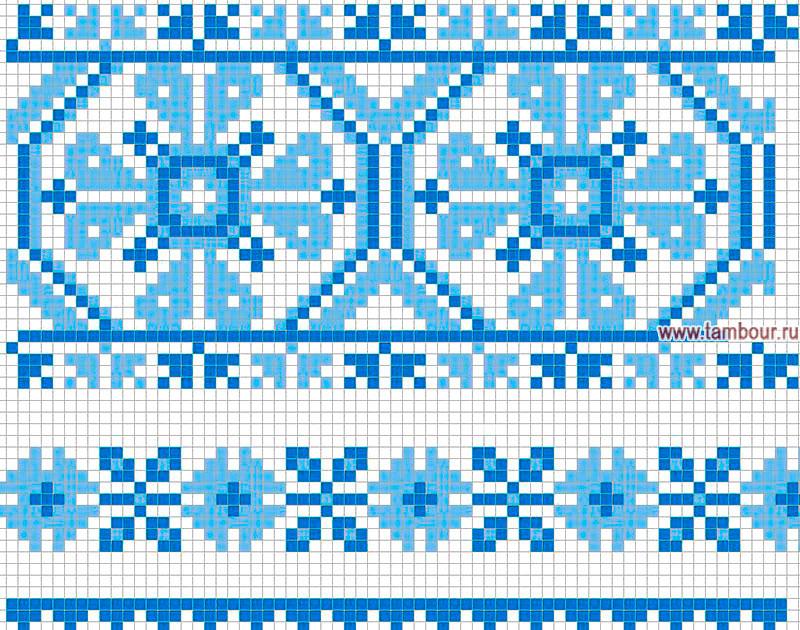 Вышивка крестом сине-голубая