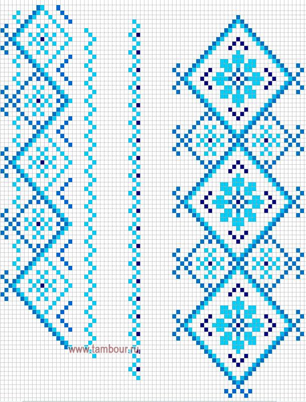 Схема голубая вышиванка